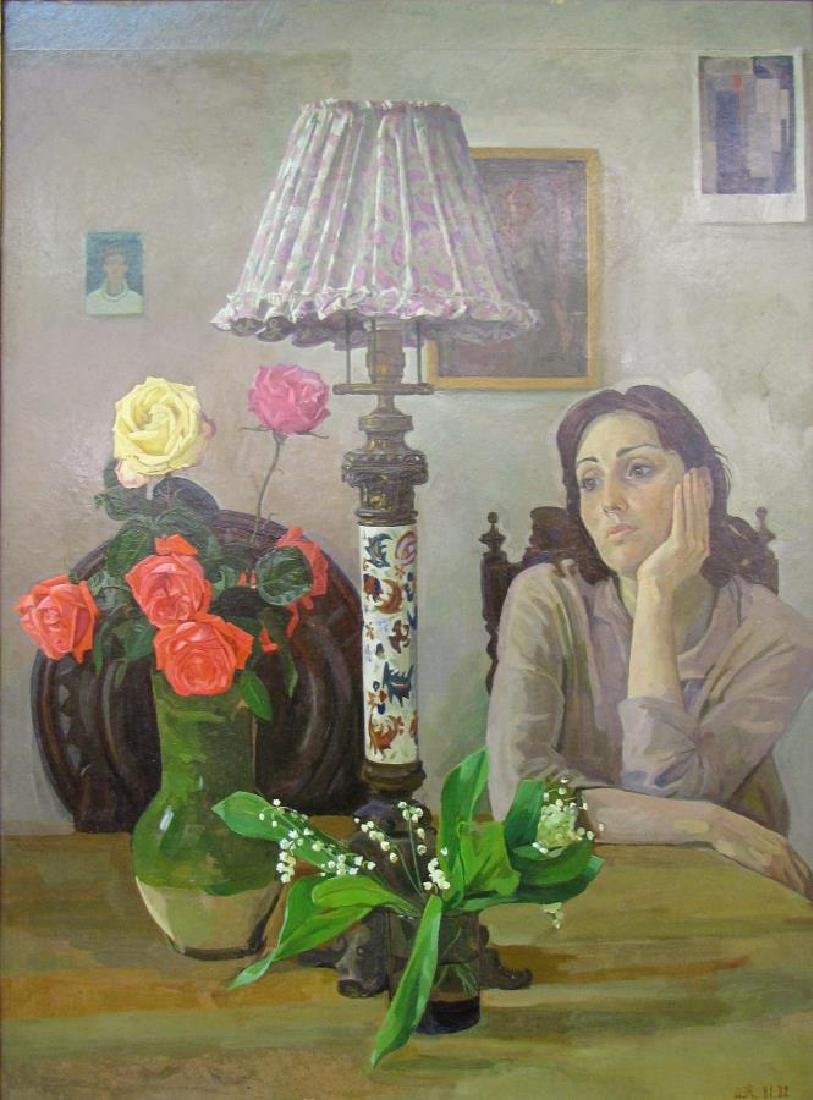 "Dmitri Zhilinsky 33.25x24.75 O/B ""At The Table"" - 2"