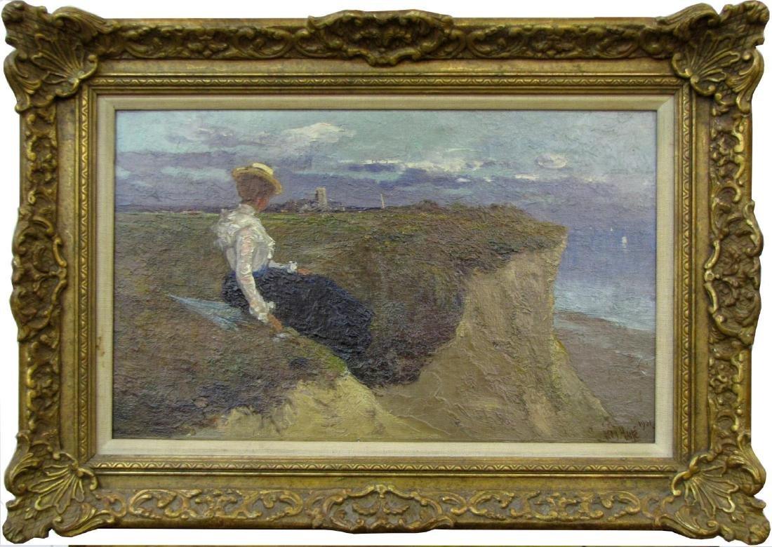 George C Haite 10x14 O/B Woman at the Ocean