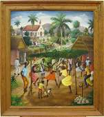 """Andre Normil 28"""" x 24"""" O/M Haitian Street Festival"""