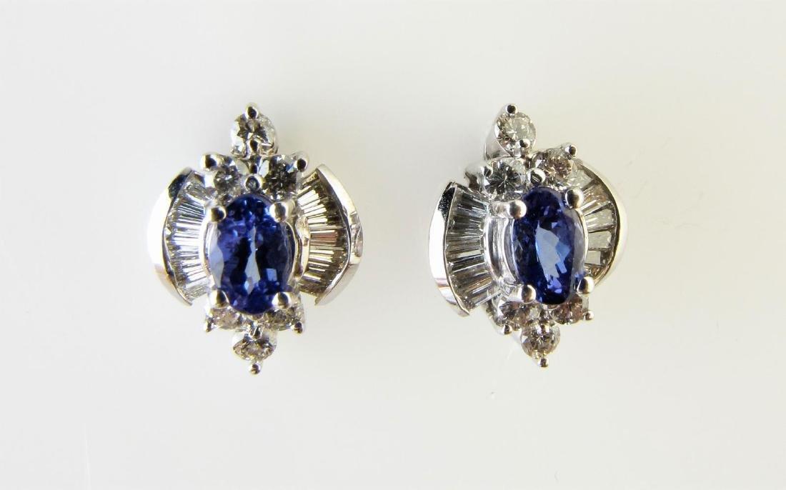 14K White Gold Tanzanite/Diamond Earrings