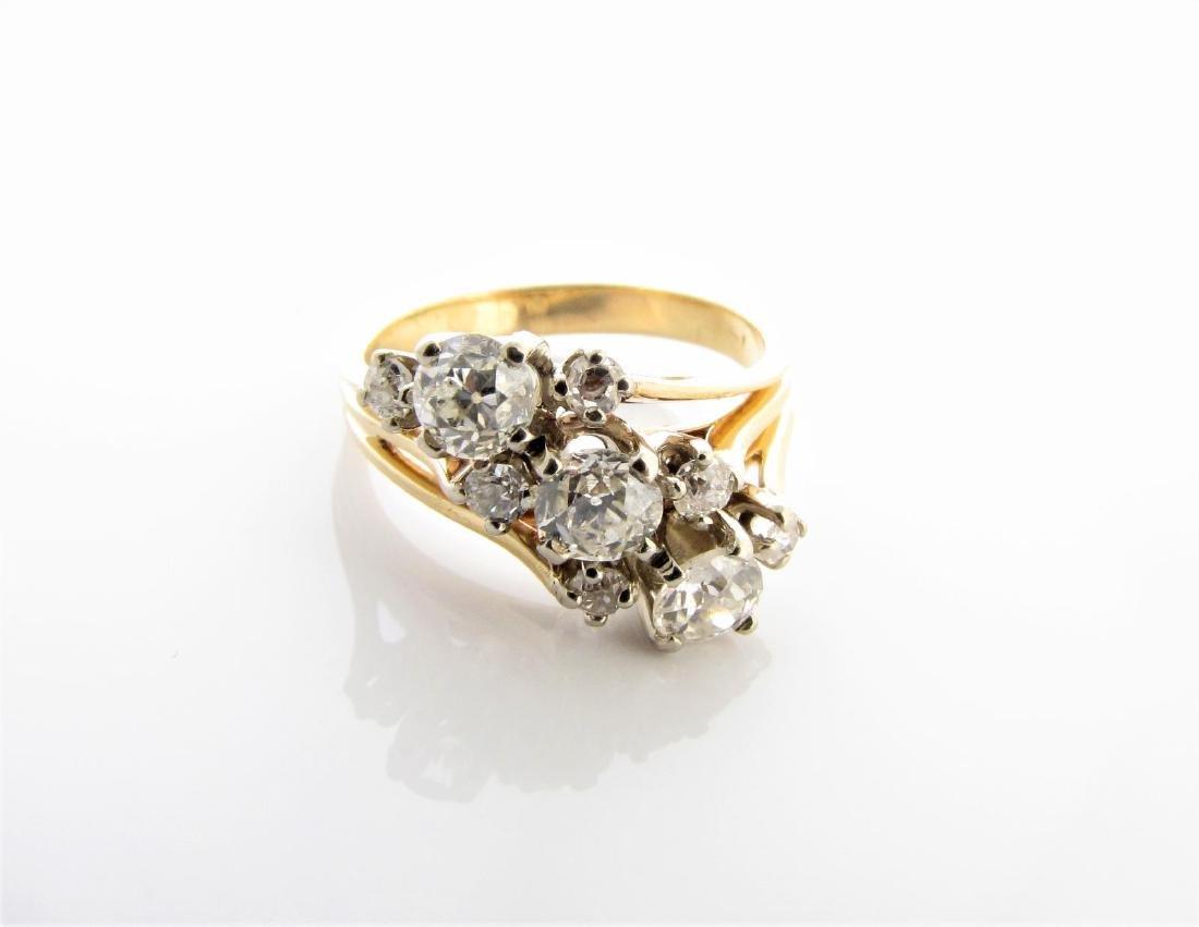 Vintage 14K Diamond Spray Ring
