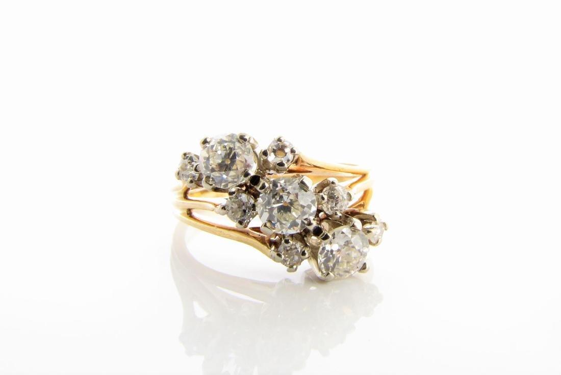 Vintage 14K Diamond Spray Ring - 2