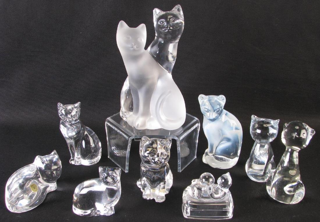 Collection of Crystal and Glass Cat Figures