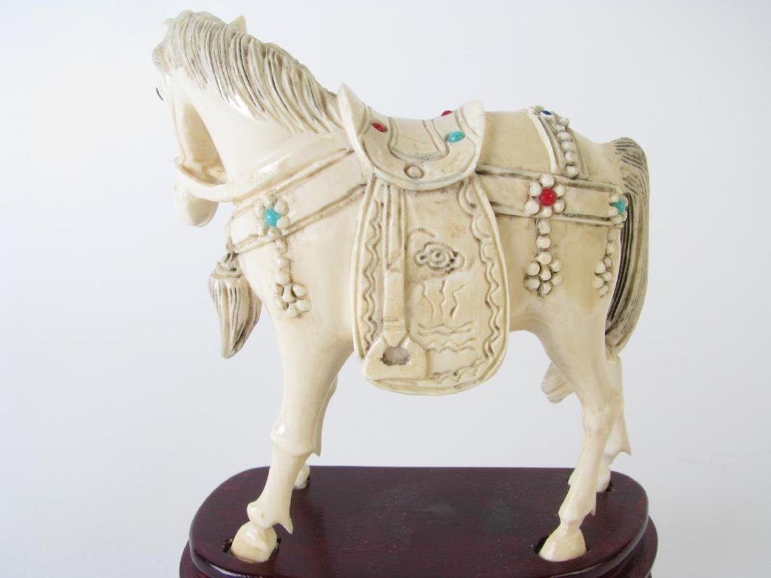 Pair of Oriental carved and Jeweled Horses - 2