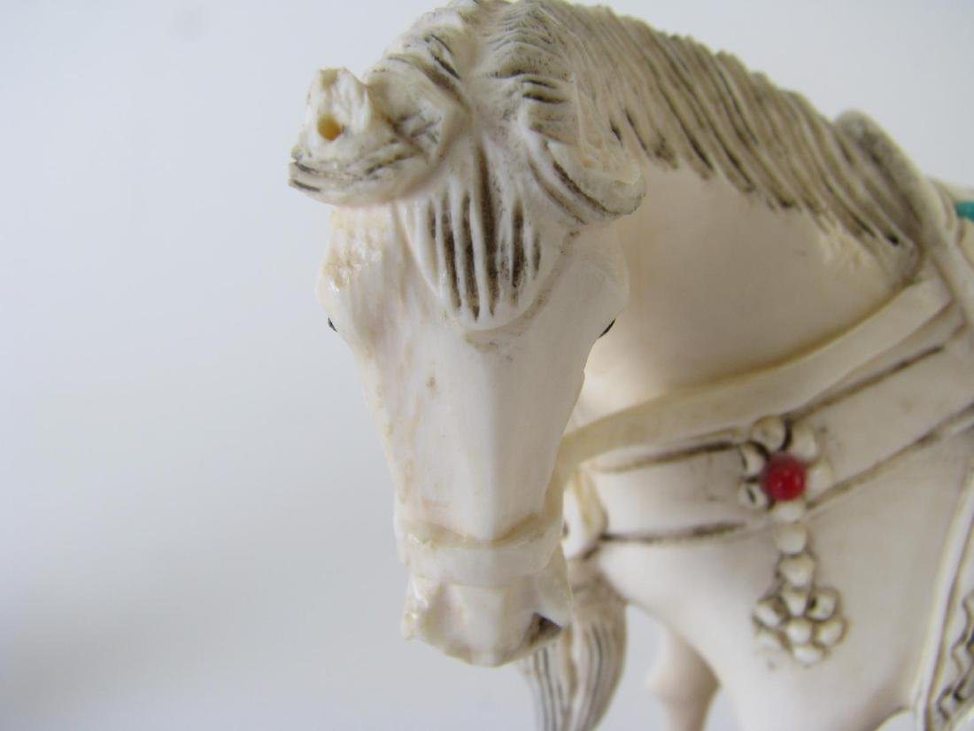Pair of Oriental carved and Jeweled Horses - 3