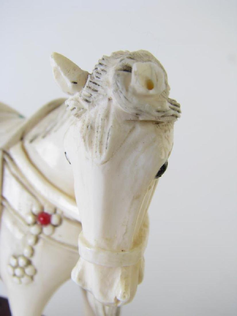 Pair of Oriental carved and Jeweled Horses - 4