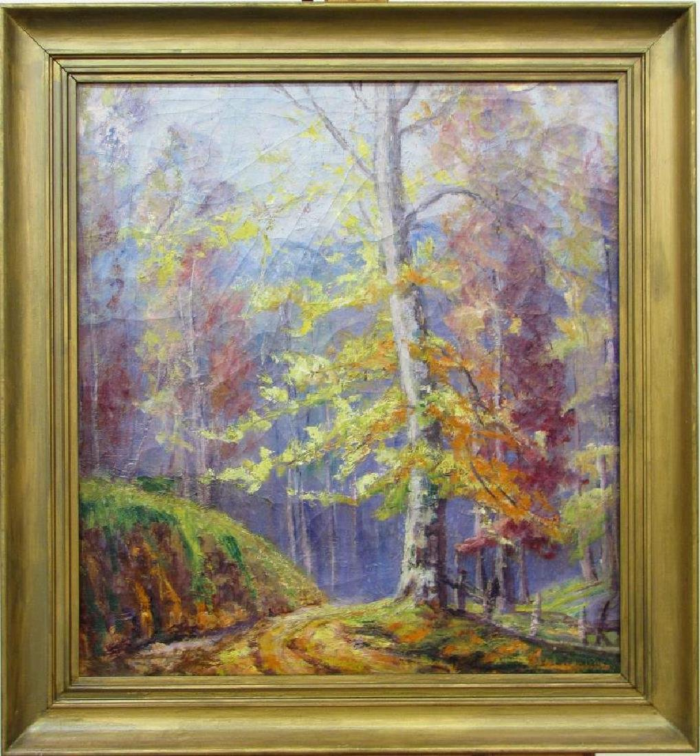 Unclearly Signed 24x22 O/C Vibrant Autumn
