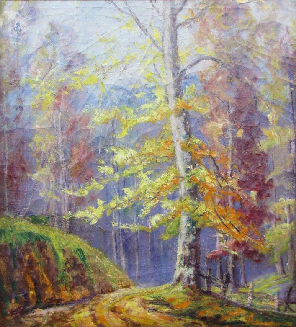 Unclearly Signed 24x22 O/C Vibrant Autumn - 2