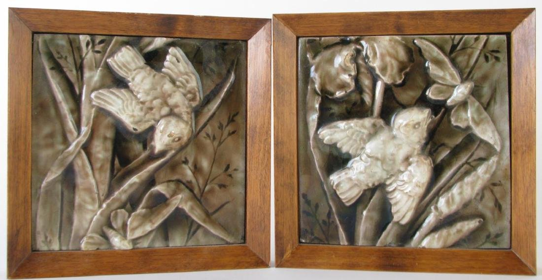 Two Framed American Encaustic Architectural Tiles