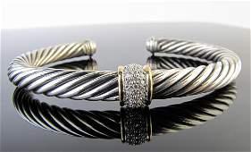Like New David Yurman 18K/Sterling Diamond Cuff