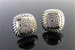David Yurman Pair of 18K/Sterling Diamond Earrings