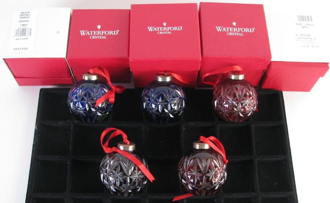Five Waterford Crystal Christmas Ornaments