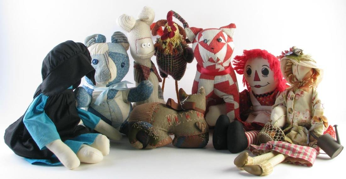 Group of Stuffed Animals and Dolls