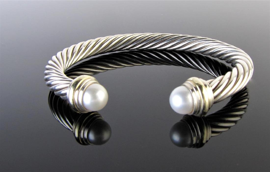David Yurman Sterling, Pearl Cable Cuff Bracelet