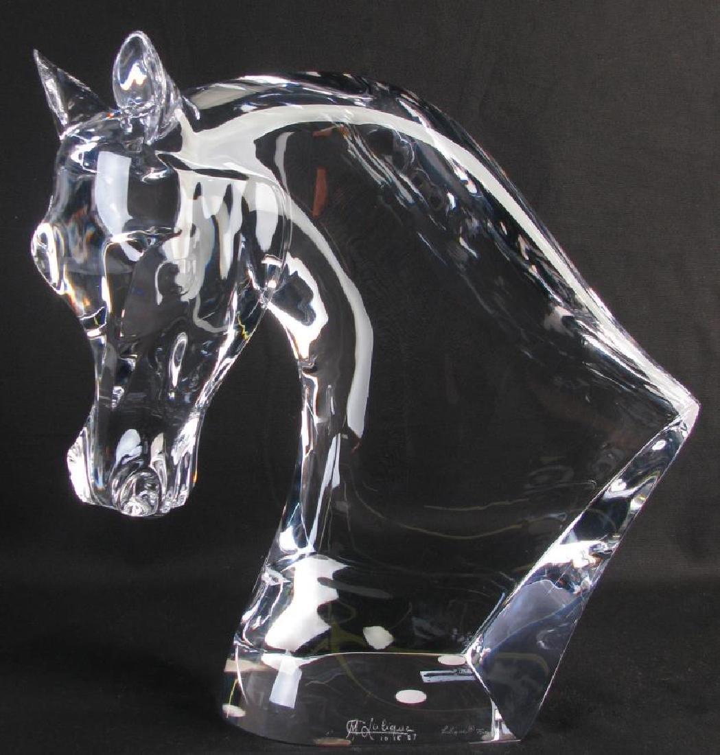 """Lalique Crystal """"Tete de Cheval"""" Horse Sculpture"""