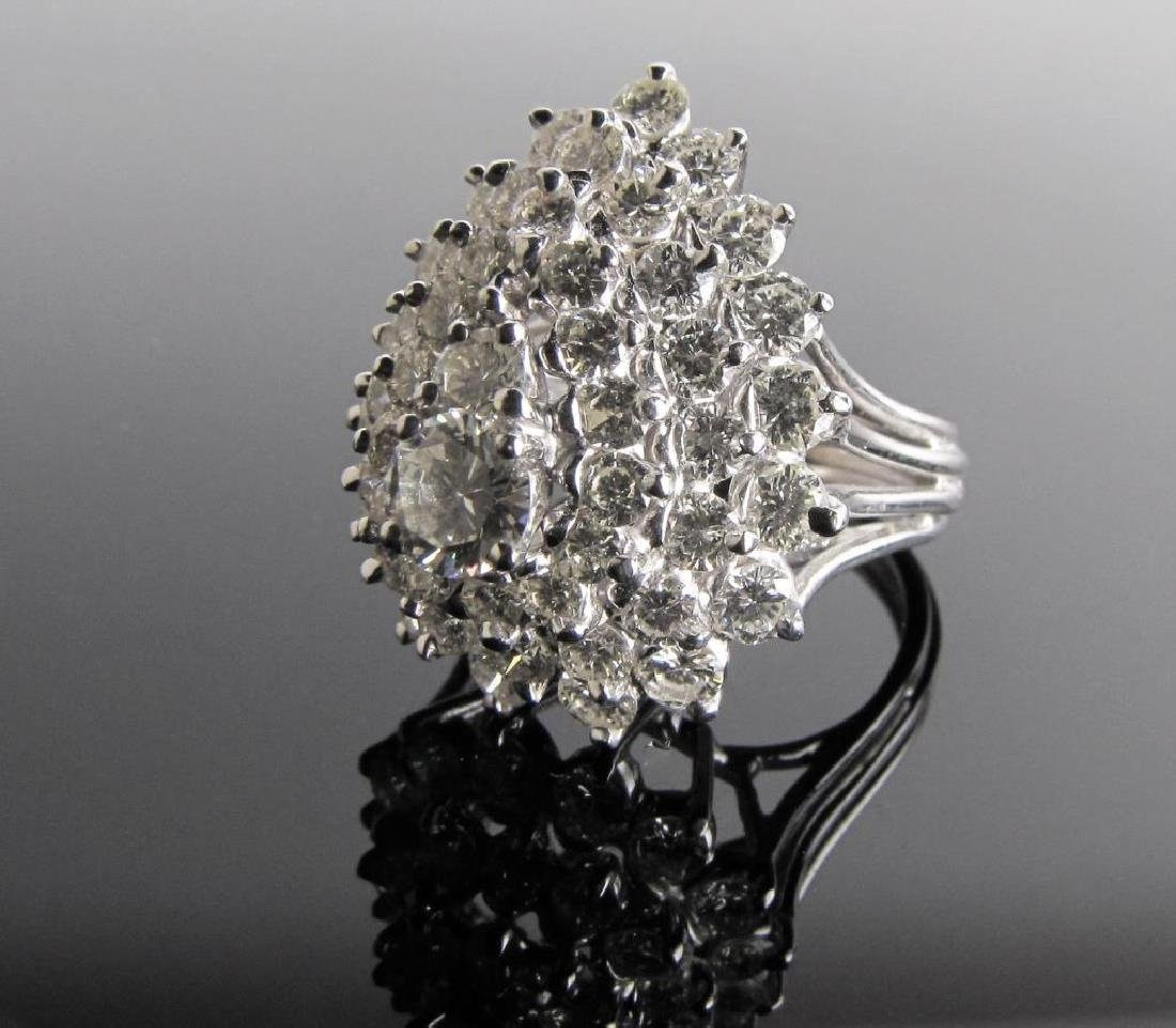 14K White Gold 2CT+ Diamond Cocktail Ring