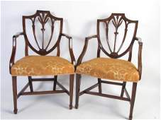 Pair of Hepplewhite Style Shield Back Chairs