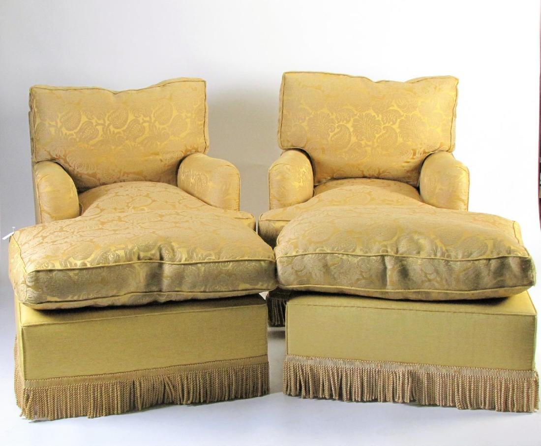 Two Upholstered Club Chairs with Ottomans
