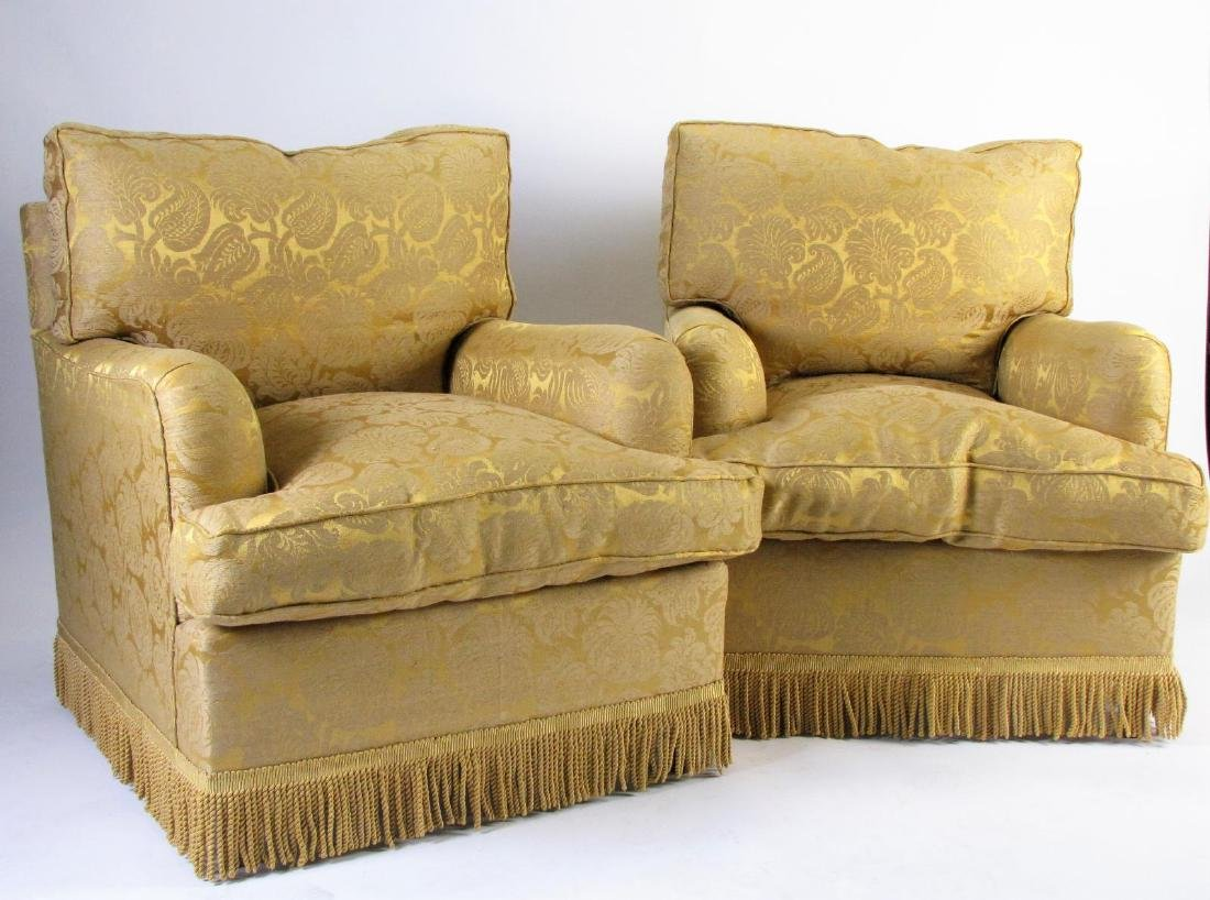 Two Upholstered Club Chairs with Ottomans - 2