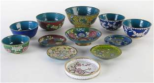 Group of Oriental Cloisonne Bowls and Dishes