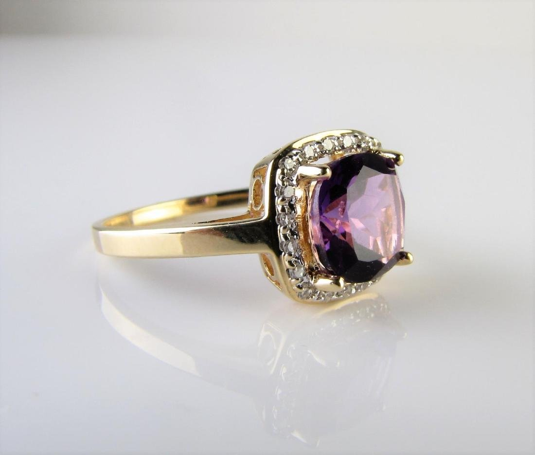 14K Yellow Gold Amethyst and Diamond Ring - 2