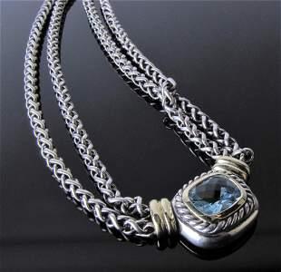 David Yurman Sterling, 14K Blue Topaz Necklace