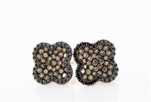 18K Rose Gold Black, Brown Diamond Earrings