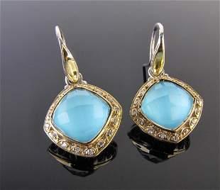 18K, Sterling Turquoise, Diamond Tacori Earrings