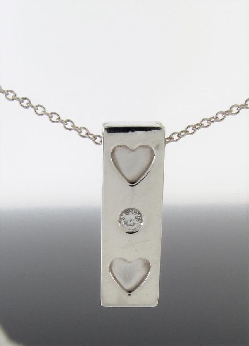 Tiffany & Co. Sterling Silver Diamond Bar Necklace