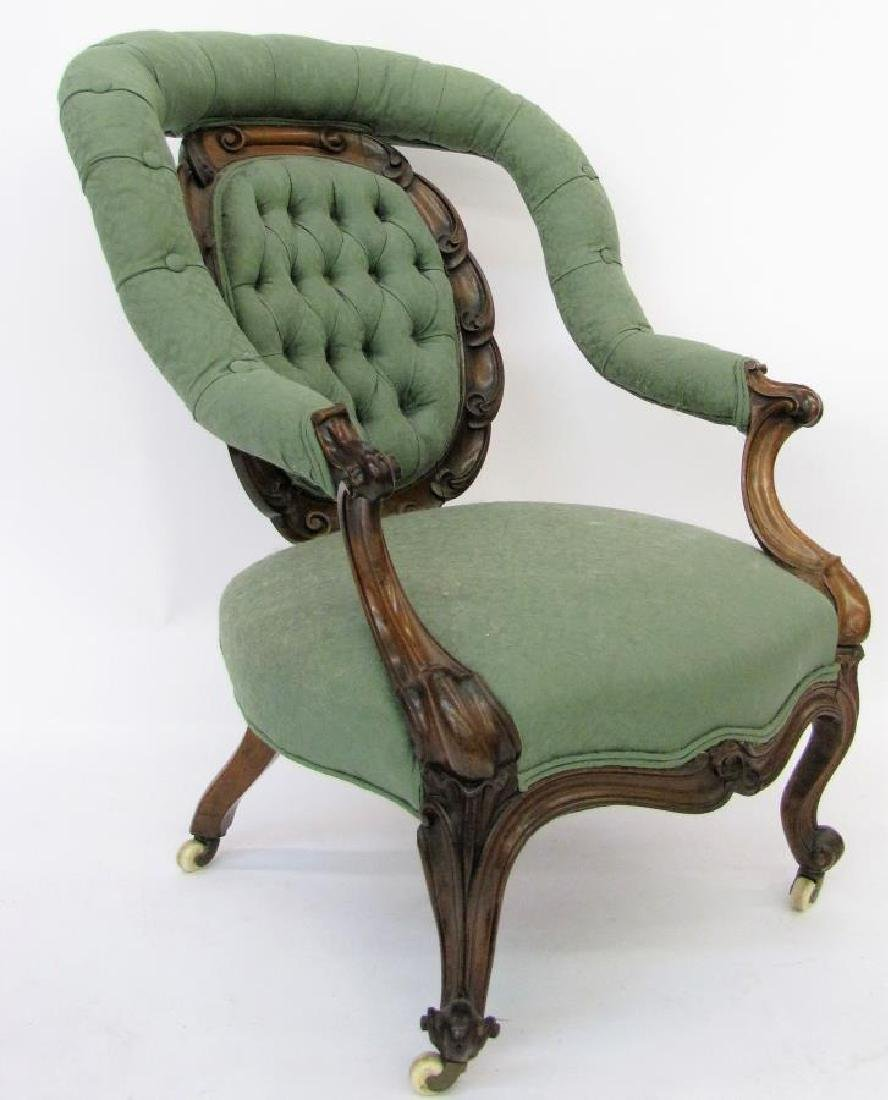 Antique Victorian Arm Chair, Rosewood - 6