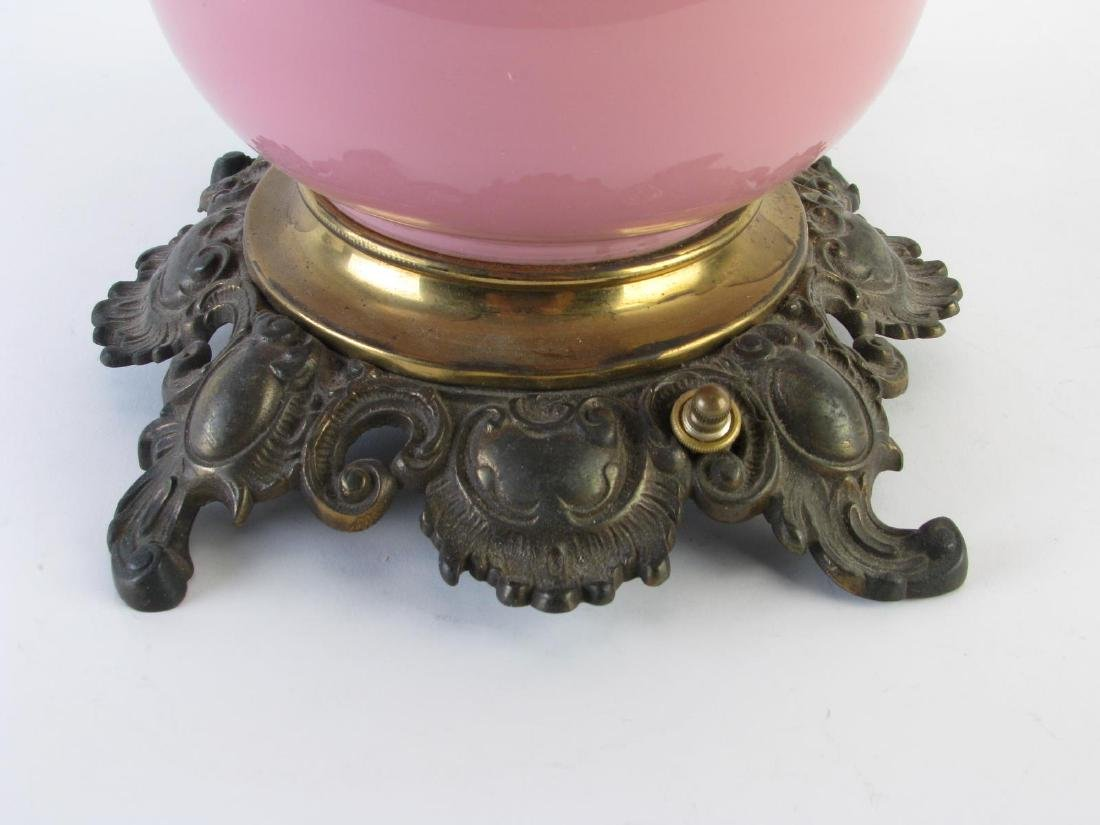 Victorian Pink Glass Table Lamp - 3