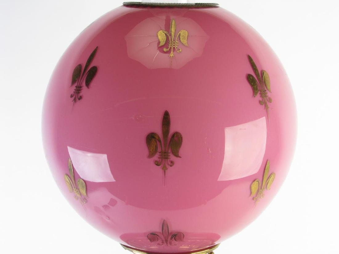 Victorian Pink Glass Table Lamp - 2