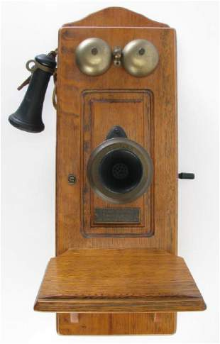 Oak Wall Mount Crank Telephone