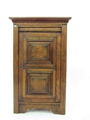 Antique English Oak Wall-Mount Corner Cupboard