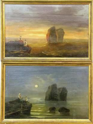 "Pr. Unsigned Antique 11x17 O/B ""Faraglioni Rocks"""