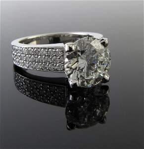 14K White Gold 3ct Diamond Ring, GIA Certified