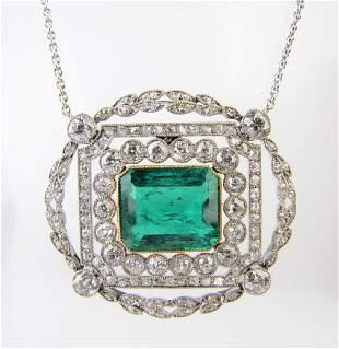 Victorian Platinum/18K Emerald Diamond Necklace