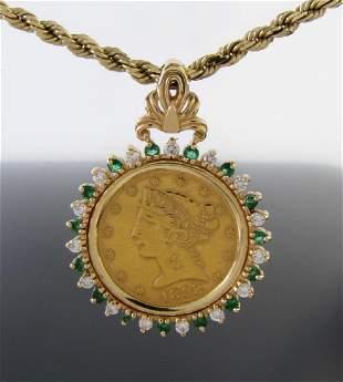 14K Yellow Gold Five Dollar Liberty Pendant, Chain