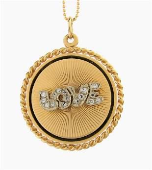 "14K Yellow Gold Diamond ""Love"" Necklace"