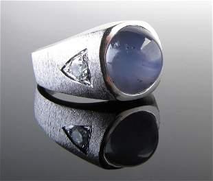 14K White Gold Gents Star Sapphire Diamond Ring