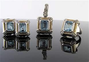 18K/Sterling, Blue Topaz Ring, Pendant and Earring