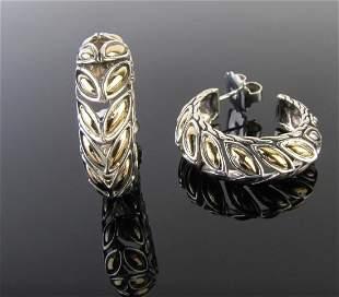 John Hardy 18K, Sterling Naga Hoop Earrings