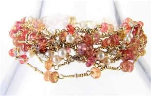 18K Multi-strand Pearl and Citrine Bracelet