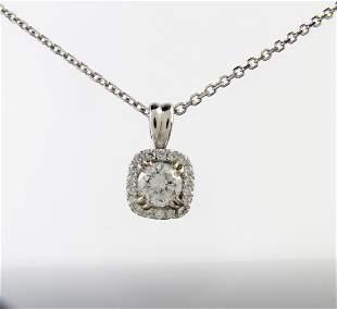 14K White Gold Diamond Pendant, Chain