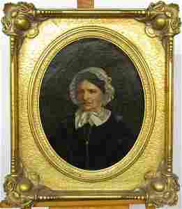 Unsigned Antique 20x16 oval O/C Portrait of Woman