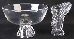 Sevres Crystal Vase and Steuben Pedestal Bowl