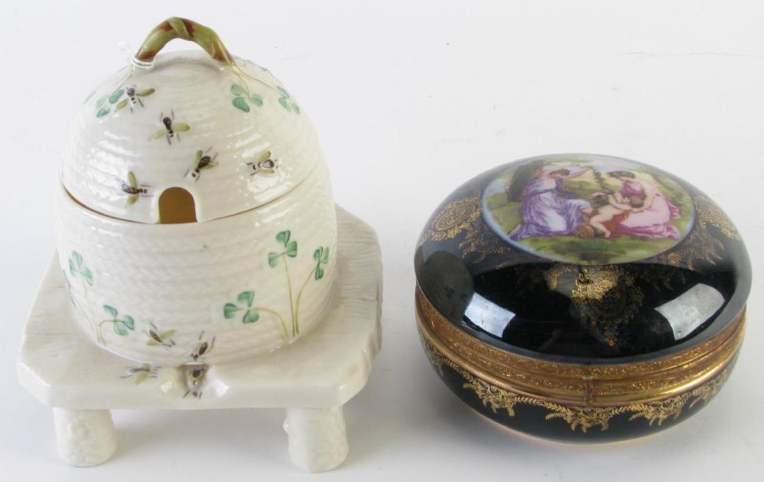 Belleek Porcelain Honey Jar and Porcelain Box