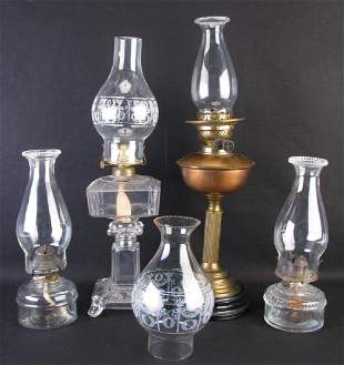 Four Glass and Metal Oil Lamps