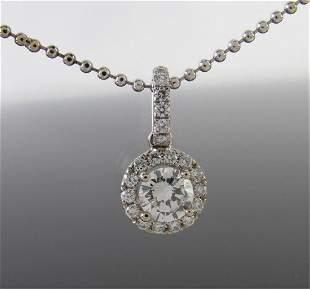 14K White Gold Diamond Halo Pendant, Chain
