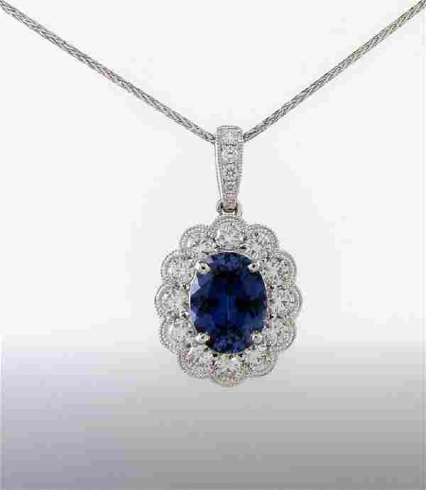 14K White Gold Sapphire Diamond Necklace